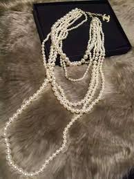 multi pearl necklace images Authentic classic chanel runway multi 6 strand faux pearl necklace JPG
