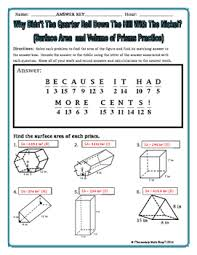 surface area and volume of prisms riddle worksheet by secondary