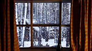 winter window snow scene storm with wind u0026 fireplace sounds