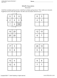 addition math squares worksheets 1 and 2