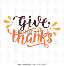 give thanks thanksgiving day lettering greeting stock vector