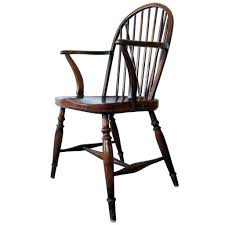 Windsor Armchairs Pair Of Antique English Braceback Yew And Elm Wood Windsor Armchairs