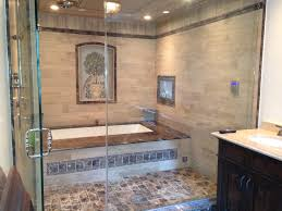 big bathtub behind glass doors with enclosed shower built in tv