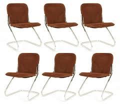 German Modern Furniture by 6 Suede U0026 Chrome German Dining Chairs Red Modern Furniture