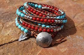 red wrap bracelet images Boho western leather wrap bracelet turquoise red jpg