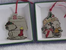peanuts snoopy lunt silversmiths 3d ornaments lot of 2