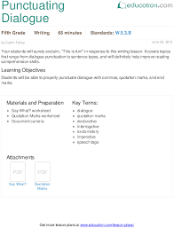 punctuating dialogue lesson plan education com