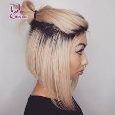 brown and blonde ombre with a line hair cut ponytail short ombre blonde bob human hair wig lace front with
