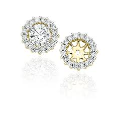 diamond earring jackets diamond earring jackets in 14k yellow gold 1 2 cttw