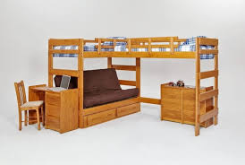 Bedroom Wonderful Woodcrest L Shaped Bunk Beds With Maroon Futon - Kids l shaped bunk beds