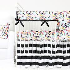 black u0026 white stripe ivy floral bumperless crib bedding caden lane
