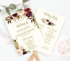 rustic wedding program fans wedding program fan template printable editable fall