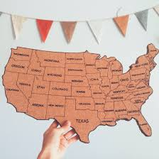 United States Map With States by United States Corkboard Map With State Names Usa Cork Map Hand