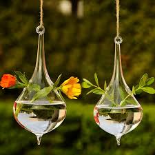 clear water drop glass hanging vase bottle terrarium hydroponic