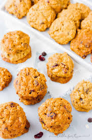pumpkin oatmeal cookies with dried cranberries and chocolate chips