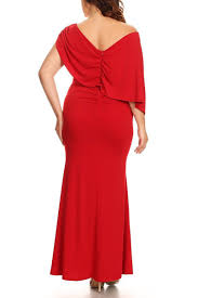 cocktail party silhouette plus size solid one shoulder maxi dress in a mermaid silhouette