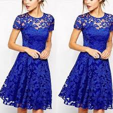 women floral lace dresses short sleeve party casual color blue red