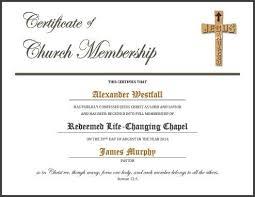 Church Membership Certificate Template 5 certificate of membership templates free