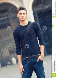 Boys Casual Dress Clothes Beautiful Man Model Outdoor With Casual Stock Photo Image