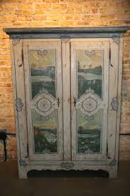 Painted Armoire Furniture Antique Country French Original Painted Lanscape Armoire