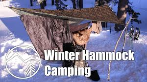 winter hammock camping in the snow and rain mountain venture