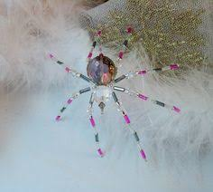 ornament green beaded spider ornament with