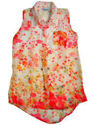 flowers by zoe big girls u0027 sleeveless floral button down blouse