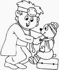 coloring pages coloring page doctor little animal at hospital