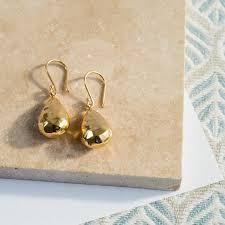 gold teardrop earrings orba hammered 18ct yellow gold vermeil teardrop earrings auree