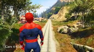 monster trucks lightning mcqueen spiderman spiderman cartoon train for kids u0026 lightning mcqueen monster truck