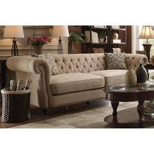 co traditional oatmeal linen fabric rolled arm button tufted sofa