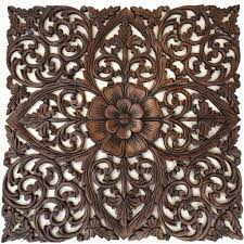 superb wood carved wall decor antique balinese panel india