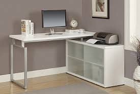 Computer Desk With Doors Monarch Specialties L Shaped Computer Desk With Frosted Glass