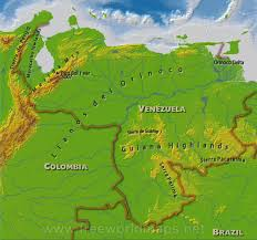 Physical Map South America by Venezuela Physical Map