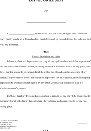 maryland last will and testament form download free u0026 premium