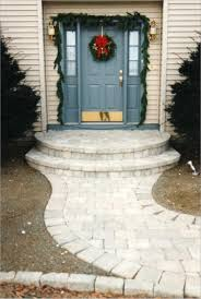 front porch entry door design with gray door and glassed side