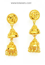 gold jhumka earrings 22k gold jhumkas gold dangle earrings gjh1064