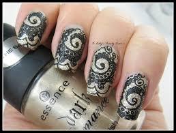 gold lace stamping nail art lazy betty