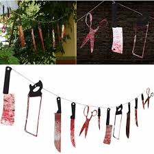 12pc lot halloween hanging knives pennant banner garland spooky
