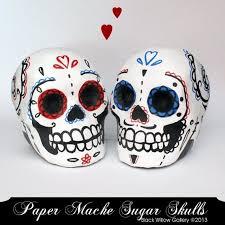 skull cake topper made blue day of the dead paper mache skull custom