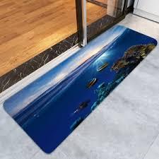 Fish Bath Rug Deep Blue W16 Inch L47 Inch Skidproof Underwater Ocean Fish