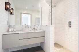 apothecary jars bathroom bathroom contemporary with pony wall in