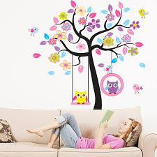 wall stickers childrens 2015 high quality free shipping1 piece diy owl tree swing removable vinyl wall sticker decal kid room removable art home decor wall art text