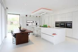very bright modern white kitchen with freestanding island and dark