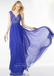 long plunging v neck lace appliques open back sapphire prom
