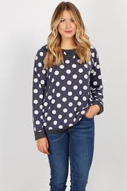 polkadot top navy blue polka dot print sleeve knit sweater