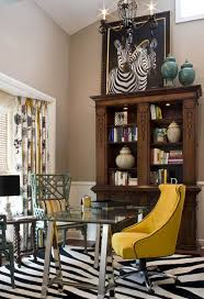 home decor stores online yellow armless chair with beautiful zebra