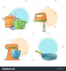 set kitchen utensils cartoon style kitchen stock vector 404497900
