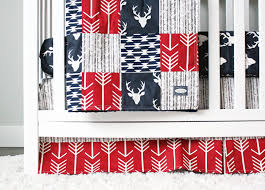 Deer Crib Sheets Woodlands Crib Bedding Navy Deer Red And Navy Blue Baby