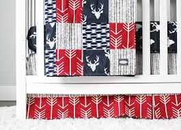 Navy Blue Chevron Crib Bedding by Woodlands Crib Bedding Navy Deer Red And Navy Blue Baby